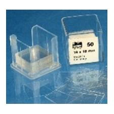 Lamelles couvre-objets. boîte en matière plastique. contenant 100 lamelles 18*18mm